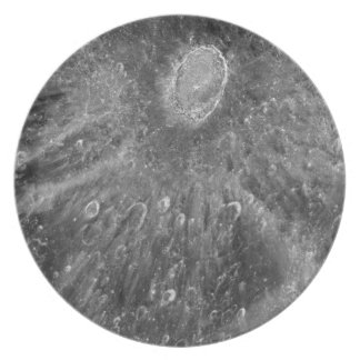 Lunar Impact Crater Tycho on Earth's Moon Dinner Plates