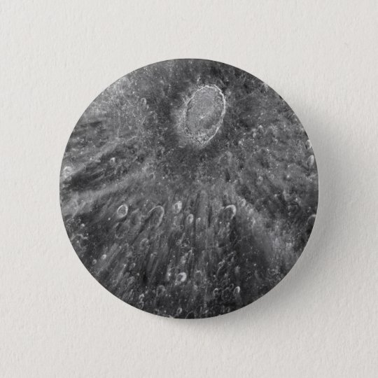 Lunar Impact Crater Tycho on Earth's Moon Pinback Button