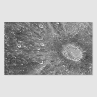Lunar Impact Crater Tycho on Earth's Moon Rectangular Sticker