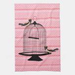 lunar lindo hermoso de la jaula de pájaros del ros toalla de mano