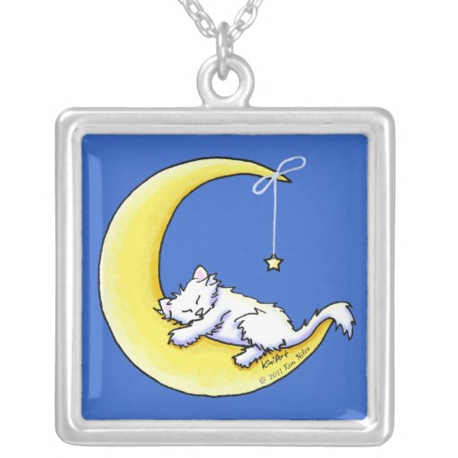 Lunar Love White Kitty Necklace