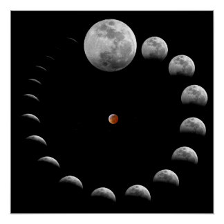 Lunar Moon Phases Poster