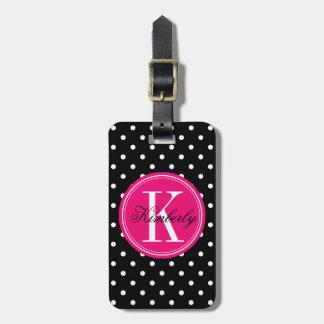 Lunar negro con el monograma rosado etiquetas maletas