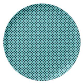 Lunar negro en azul plato de comida