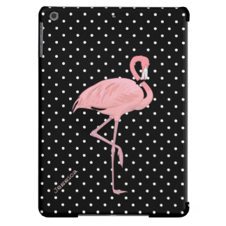 Lunar negro y blanco elegante con el flamenco rosa carcasa iPad air
