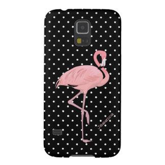 Lunar negro y blanco elegante con el flamenco rosa funda para galaxy s5