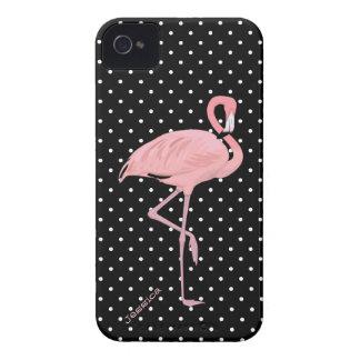 Lunar negro y blanco elegante con el flamenco rosa Case-Mate iPhone 4 protector