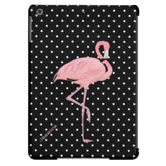 Lunar negro y blanco elegante con el flamenco rosa funda para iPad air