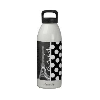 Lunar negro y blanco puntos París Botella De Agua Reutilizable