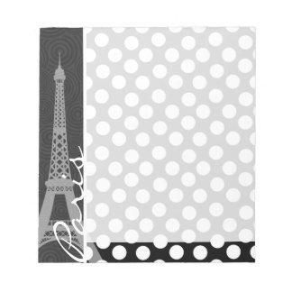 Lunar negro y blanco puntos París Bloc De Notas