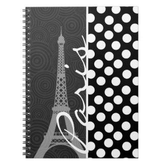 Lunar negro y blanco, puntos; París Spiral Notebooks