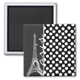 Lunar negro y blanco, puntos; París Imán De Nevera