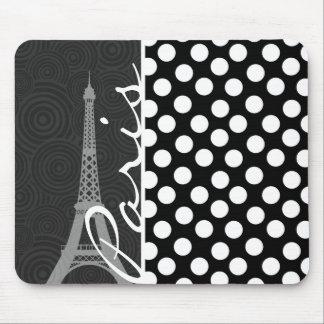 Lunar negro y blanco, puntos; París Tapetes De Ratón