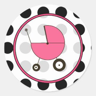 Lunar negro y pegatina rosado del carro de bebé