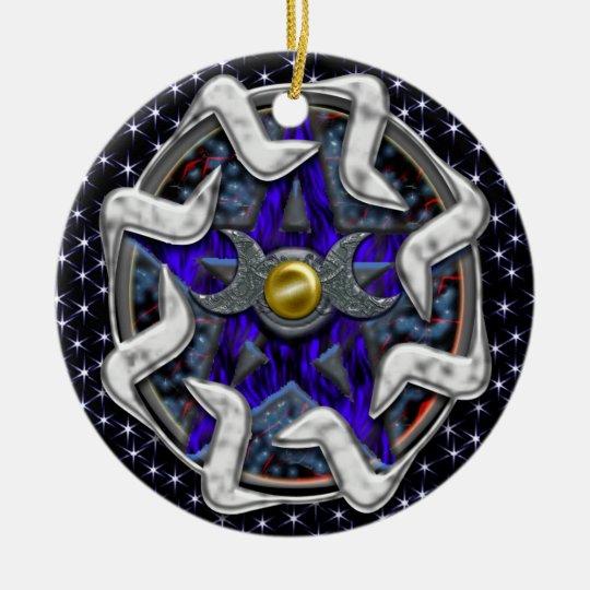 lunar pentacle starfield ceramic ornament