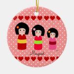 Lunar personalizado de las hermanas de Kokeshi Adorno De Navidad
