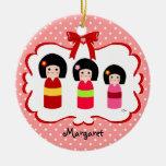Lunar personalizado de las hermanas de Kokeshi Ornamento De Reyes Magos
