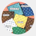 Lunar retro de las telas del paño del kitsch 30s pegatina redonda