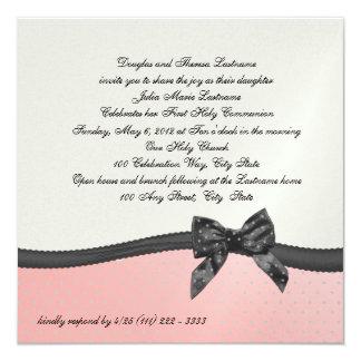 """Lunar rosado de la primera comunión con el arco invitación 5.25"""" x 5.25"""""""