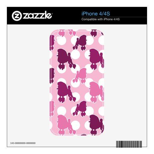 Lunar rosado del caniche skins para eliPhone 4