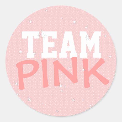 Lunar rosado del equipo y pegatina redondo de las
