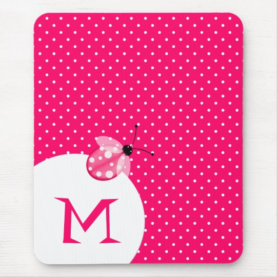 Lunar rosado elegante con la mariquita y el monogr mousepad