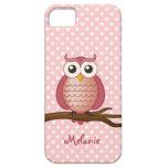 Lunar rosado femenino del búho el | de iPhone 5 Case-Mate cobertura