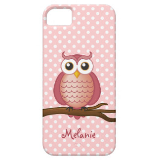 Lunar rosado femenino del búho el   de funda para iPhone SE/5/5s