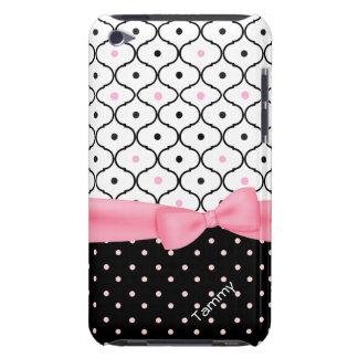 Lunar rosado, negro, y blanco bonito femenino iPod touch carcasas