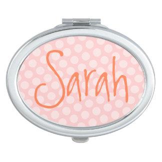 Lunar rosado personalizado espejos de maquillaje