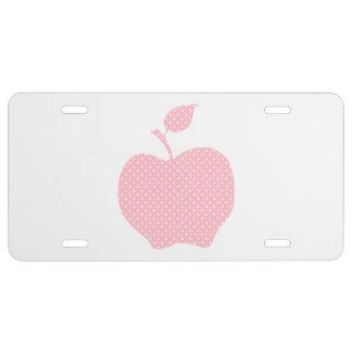 Lunar rosado y blanco Apple Placa De Matrícula