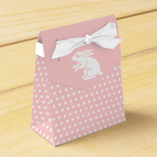Lunar rosado y blanco del conejito de pascua caja para regalos de fiestas