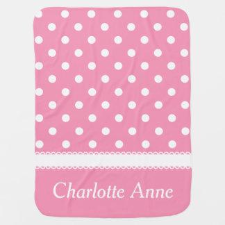 Lunar rosado y blanco feliz personalizado mantas de bebé