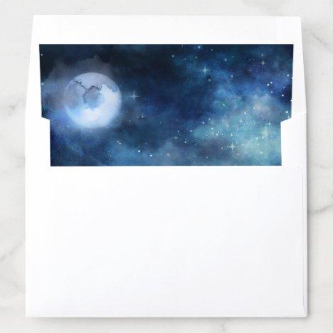 Lunar Sky Full Moon Celestial Galaxy Wedding Envelope Liner
