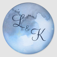 Lunar Sky Full Moon Celestial Monogram Wedding Classic Round Sticker