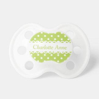 Lunar verde y blanco de hoja de palma chupetes para bebés
