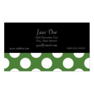 Lunar verde y blanco tarjetas de visita