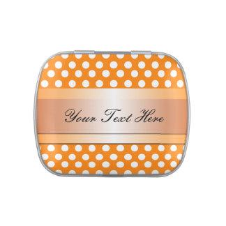 Lunar y cinta anaranjados y blancos jarrones de caramelos