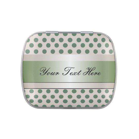 Lunar y cinta verdes y beige latas de caramelos