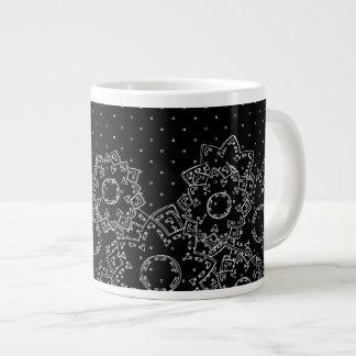 Lunar y flores de la taza taza grande