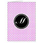 Lunar y monograma magentas tarjeta pequeña