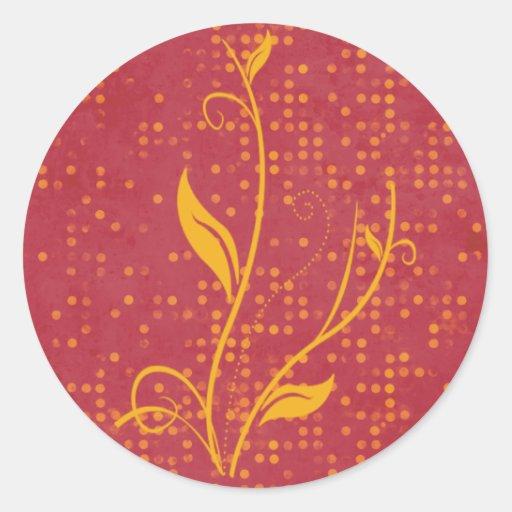 lunar y naranja rosados pegatina redonda