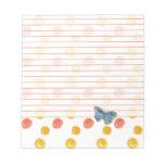 Lunares alineados mariposa azul del naranja de la blocs de notas