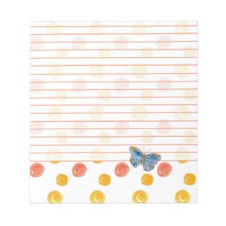 Lunares alineados mariposa azul del naranja de la bloc de notas