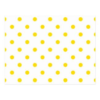 Lunares - amarillo de oro en blanco tarjetas postales
