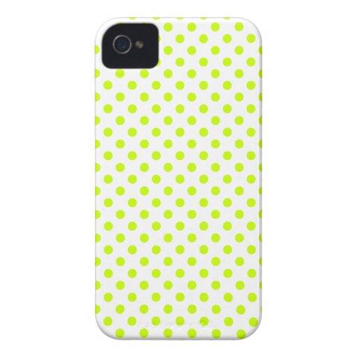 Lunares - amarillo fluorescente en blanco iPhone 4 fundas