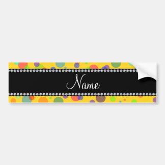 Lunares amarillos conocidos personalizados del arc etiqueta de parachoque