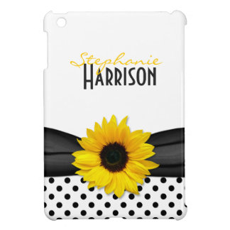 Lunares amarillos del blanco del negro del girasol iPad mini protectores