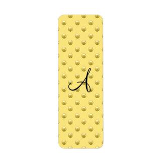 Lunares amarillos en colores pastel de la perla de etiqueta de remite