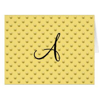 Lunares amarillos en colores pastel de la perla de tarjeta